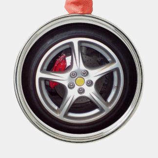 Rennwagen-Rad Rundes Silberfarbenes Ornament