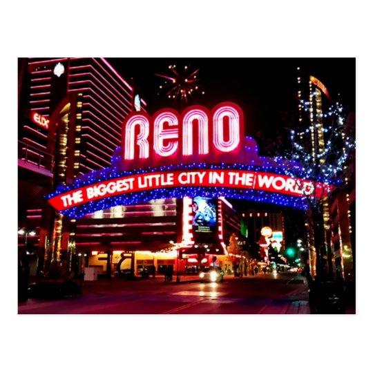 Reno, Nevada an der Nachtpostkarte Postkarte