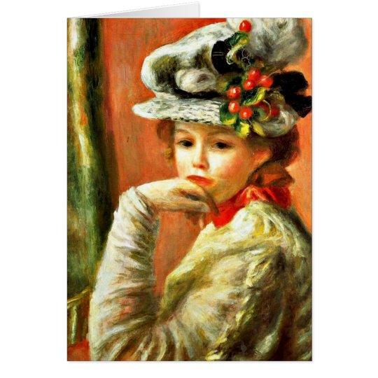 Renoir - junges Mädchen in einem weißen Hut Grußkarte