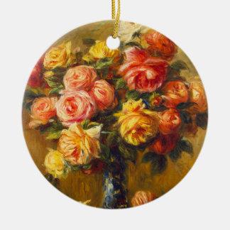 Renoir Rosen in einer Vasen-Verzierung Rundes Keramik Ornament