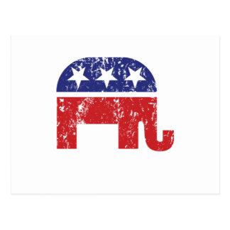 Republikanischer ursprünglicher Elefant beunruhigt Postkarte