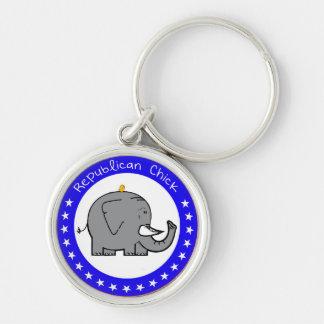republikanisches Küken keychain Silberfarbener Runder Schlüsselanhänger