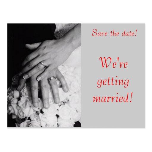 Réservez la date--Mains de mariage Carte Postale