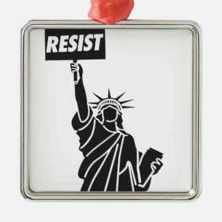 Resist_for_Liberty Quadratisches Silberfarbenes Ornament