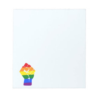 #Resist LGBT Regenbogen angehobener Faust-Protest Notizblock