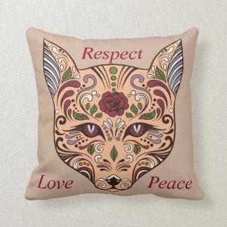 Respect Love Peace Sugar Skull Wolf Mauve Pillow Kissen