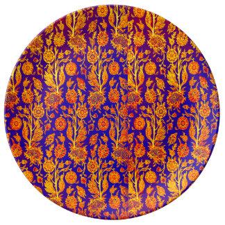 Resplendent gelbe rote blaue Muster-mit Teller