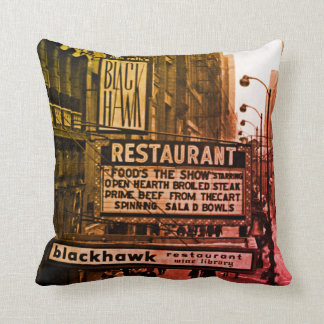Restaurantsechziger jahre Foto-Vorlage Chicagos Kissen