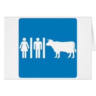 Restroom-Anlagen-humorvolles Landstraßen-Zeichen - Karte