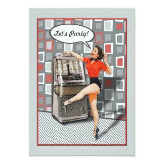 Retro 50er Jukeboxpinup-Mädchen-Gewohnheits-Party 12,7 X 17,8 Cm Einladungskarte