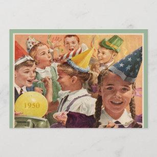 Retro 65. Geburtstagsparty 1950 Kinder-Erinnerunge Einladung