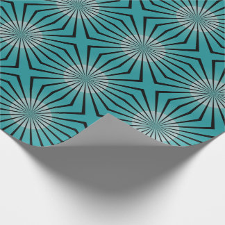 Retro 70er aquamarines Verpackungs-Papier Geschenkpapier