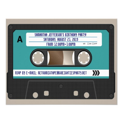 Retro 80er Kassette Mixtape personalisiert Personalisierte Einladungen