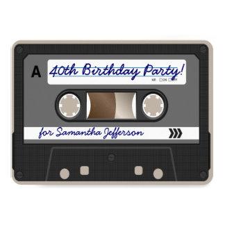 Retro 80er Kassetten-Band-40. 11,4 X 15,9 Cm Einladungskarte