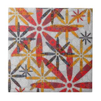 Retro abstrakte Blumen Kleine Quadratische Fliese
