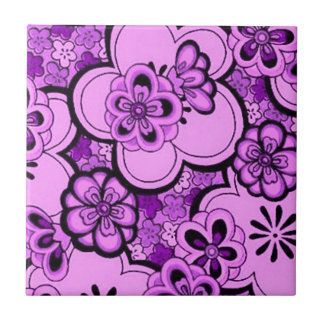 Retro abstrakte Blumen-lila Amethyst Fliese