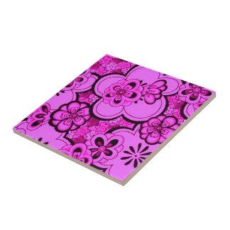 Retro abstrakte Blumen magentarote rosa Trivet Keramikfliesen