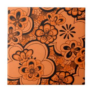Retro abstrakte Blumen-Mandarine-Orange Trivet Keramikfliesen