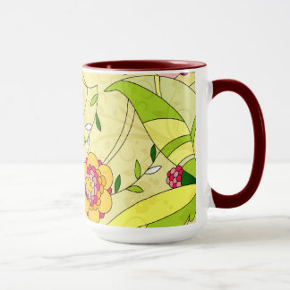 Retro abstrakte Blumencollage Tasse