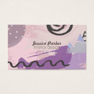 Retro Achtzigerjahre Neunzigerjahre lila Visitenkarte