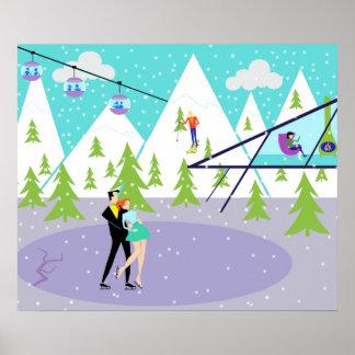 Rétro affiche de station de sports d'hiver d'hiver