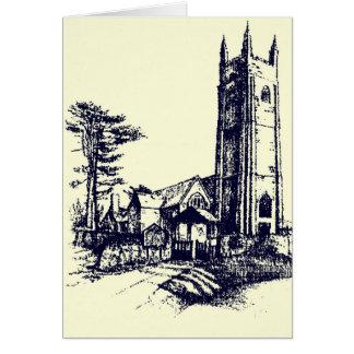 Retro alte englische Kirchen-Karte Grußkarte
