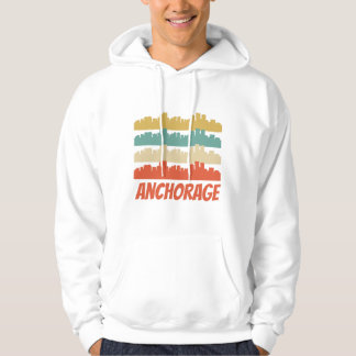 Retro Anchorage AK Skyline-Pop-Kunst Hoodie