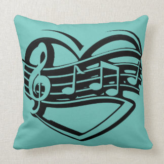 retro angesagtes Musikherzschwarzes aquamarines Kissen