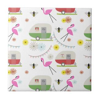Retro Anhänger-u. Flamingo-Muster Keramikkacheln