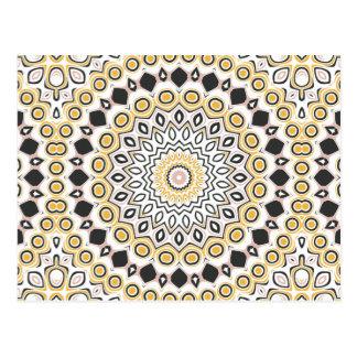 Retro Art-Senf-gelbes und schwarzes Medaillon Postkarte