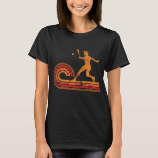 Retro Art-Tennis-Spieler-Silhouette-Sport T-Shirt