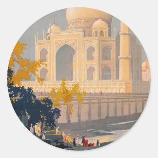 Rétro autocollant d'affiche de voyage du Taj Mahal