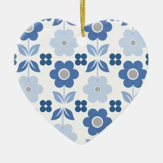 Retro blaue Blumen Dble-versahen Herz Ornanent mit Keramik Ornament