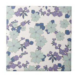 Retro blaue Blumen Kleine Quadratische Fliese