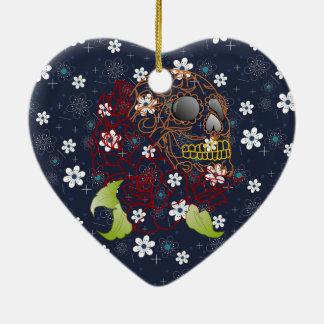 retro blaue Blumenschädel Weihnachtsverzierung Keramik Ornament