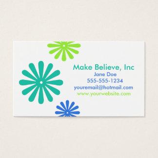 Retro blaue und grüne Blumen Visitenkarten