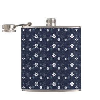 Retro blaue weiße Aqua-Blume der Getränk-Flasche Flachmann