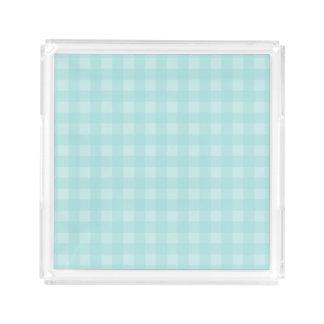 Retro blauer Gingham-karierter Muster-Hintergrund Acryl Tablett