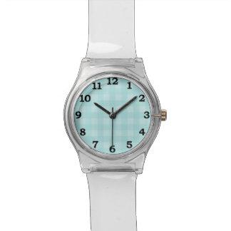 Retro blauer Gingham-karierter Muster-Hintergrund Armbanduhr