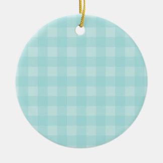 Retro blauer Gingham-karierter Muster-Hintergrund Keramik Ornament