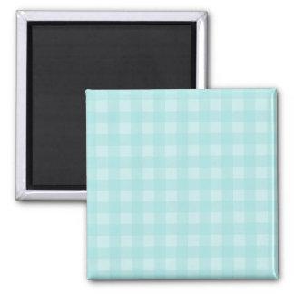 Retro blauer Gingham-karierter Muster-Hintergrund Quadratischer Magnet