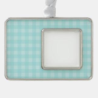 Retro blauer Gingham-karierter Muster-Hintergrund Rahmen-Ornament Silber