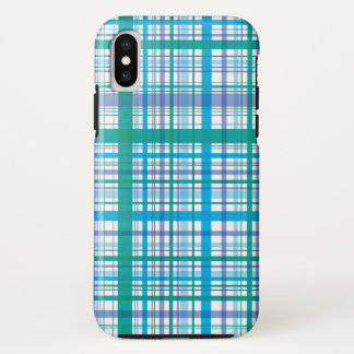 Retro blauer lila karierter Karo-Muster-Kasten iPhone X Hülle