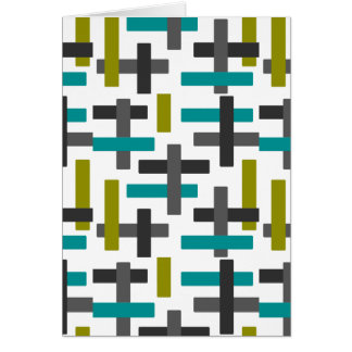 Retro blaues, grünes, graues abstraktes grußkarte