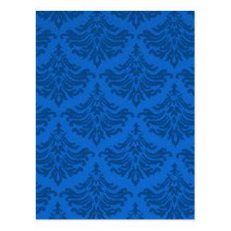Retro blühen Sie Bemühungs-Blau Postkarte
