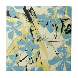 retro Blume blau und gelb Kleine Quadratische Fliese