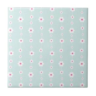 Retro Blume reiht Aquamarine und Rosa auf Kleine Quadratische Fliese