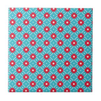 Retro Blumen-Muster Kleine Quadratische Fliese