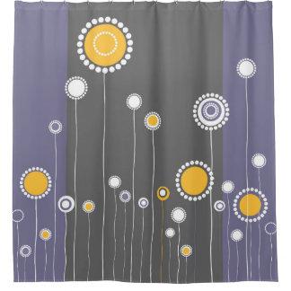 Retro Blumen-Muster lila Duschvorhang