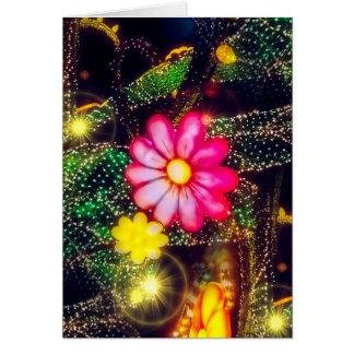 Retro Blumen-Neonlichter Karte